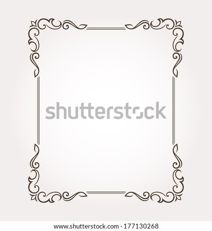 Calligraphic frame and page decoration. Vector illustration #177130268