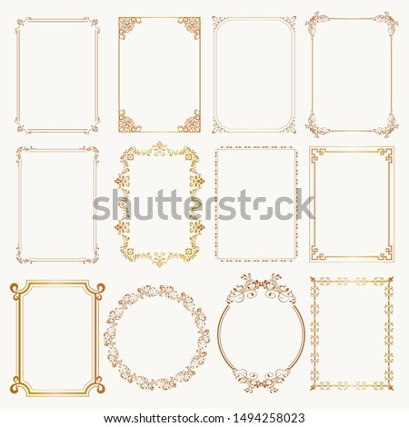 Calligraphic frame set. Borders corners ornate frames. Vector