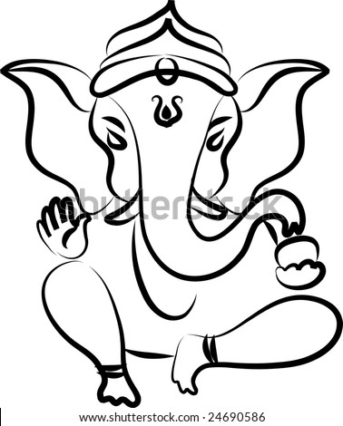 Vector Stock on Calligraphic Ganesha Stock Vector 24690586   Shutterstock