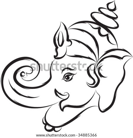 Simple Animal Pictures on Calligraphic Ganesha Stock Vector 34885366   Shutterstock