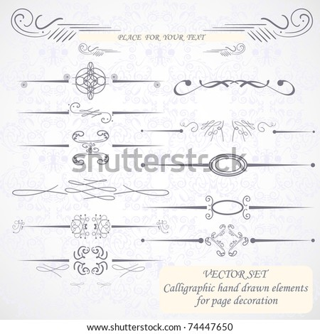 Calligraphic hand drawn design elements