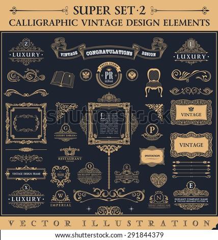calligraphic icons vintage