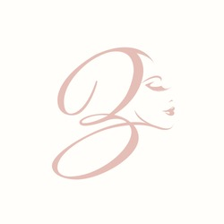 Calligraphic letter B logo with beautiful woman portrait.Beauty, hair, makeup and cosmetics vector icon in rose color isolated on light background.