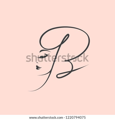Calligraphic letter B logo with beautiful woman portrait.Elegant makeup and hairstyle icon.Beauty and hair salon vector illustration isolated on light pink color background.