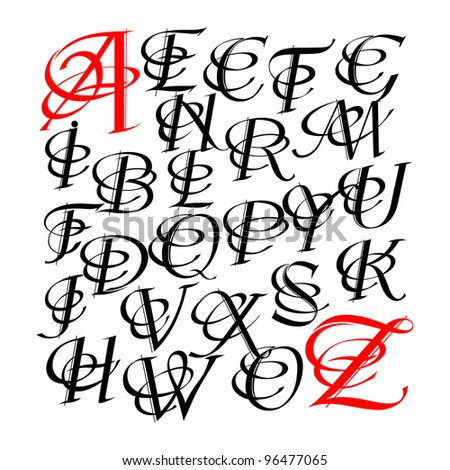 Calligraphic letters vector design - stock vector