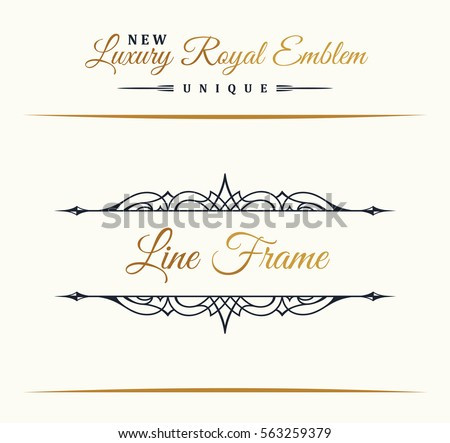 Calligraphic Luxury line logo. Flourishes border gold frame. Emblem monogram. Royal vintage design. Black symbol decor for menu card, invitation label, Restaurant, Cafe, Hotel. Vector illustration
