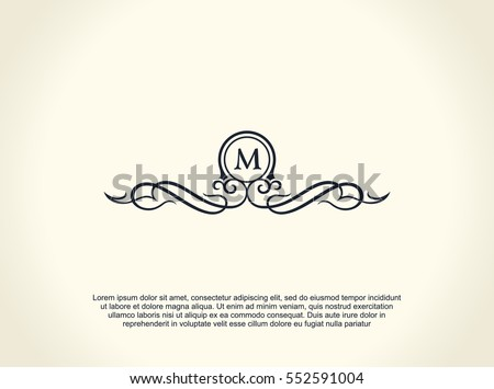 Calligraphic Luxury line logo. Flourishes elegant emblem monogram. Royal vintage divider design. Black symbol decor for menu card, invitation label, Restaurant, Cafe, Hotel. Vector line letter M