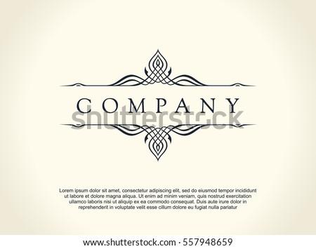 Calligraphic Luxury line logo. Flourishes elegant emblem monogram. Royal vintage divider design. Black symbol decor for menu card, invitation label, Restaurant, Cafe, Hotel. Vector line illustration