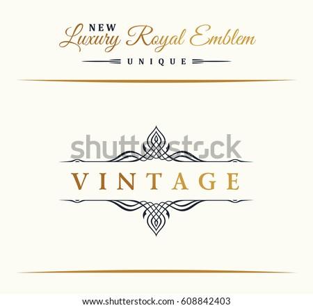 Calligraphic Luxury line logo. Flourishes gold frame. Emblem monogram. Royal vintage design. Black symbol decor for menu card, invitation label, Restaurant, Cafe, Hotel. Vector line illustration