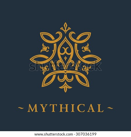 Calligraphic luxury symbol. Emblem ornate decor elements. Vintage vector ornament