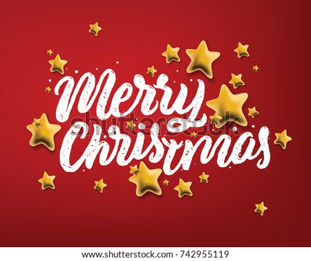 "Calligraphic ""Merry Christmas"" Lettering Decorated with Gold Stars on Red Background. Christmas Greeting Card. Holidays decoration typography. Vector illustrations."