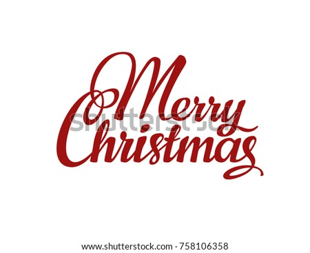 calligraphic merry christmas lettering template for your design