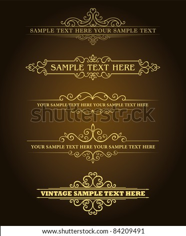 Calligraphic old elements vintage decor, vector