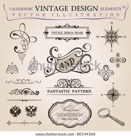 Calligraphic old elements vintage decor Vector frame ornament