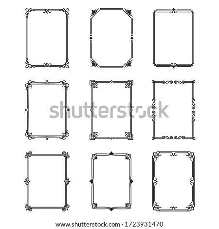 Calligraphic ornamental frames set. Vintage decorative borders, filigree floral rectangular shapes. Can be used for greeting and certificate templates, traditional ornament, calligraphy concept