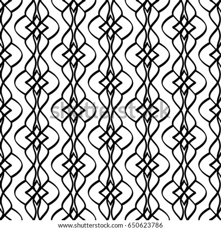 Calligraphic pattern with curls on white background. Vector illustration #650623786