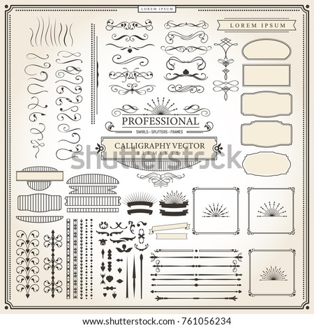 Calligraphic Retro Flourishes Vector Vintage Design Elements and Page Decorations Professional Typography Primitive Elements for Logo Design