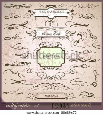 calligraphic set - stock vector