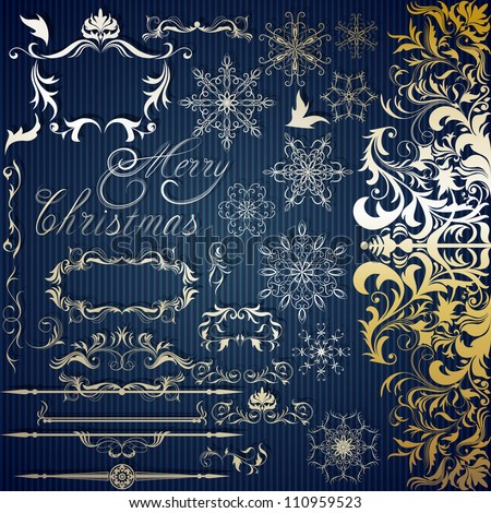 Calligraphic set for Christmas design
