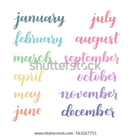 Calligraphic set of months of the year. Brush handwritten Hand lettering names of months. Calligraphic isolated set in multicolored ink on white isolated background. Vector illustration