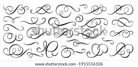 Calligraphic swirl ornament, line style flourishes set. Filigree vignette ornamental curls. Decorative design elements for menu, certificate, diploma, wedding card, invatation, outline text divider