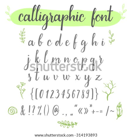 calligraphic vector font with