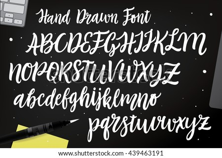 Shutterstock Calligraphic vector script font. Handwritten brush style modern calligraphy cursive typeface. Hand Lettering and Typography alphabet for Designs: Logos, Packaging Design, Poster. Typographic set.