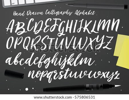 Calligraphic vector script font. Handwritten brush style modern calligraphy cursive typeface. Hand Lettering and Typography alphabet for Designs: Logos, Packaging Design, Poster. Typographic set.