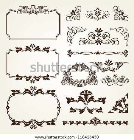 Calligraphic Vector Vintage frames and borders
