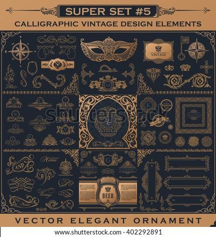 Calligraphic vintage emblems. Design Gold book elements. Vector flourishes illustration logo set. Border frame royal ornament page decoration for menu card, invitations, label, Restaurant, Cafe, Hotel