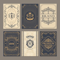 Calligraphic vintage floral cards collection, vector illustration