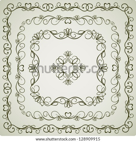 Calligraphic Vintage Ornament, Old Decor, Vector Version - stock vector