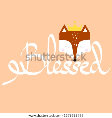 Calligraphy blessed. Cute card with fox. Blessing card