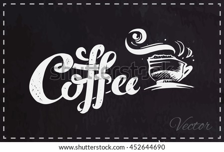 calligraphy   coffee isolated