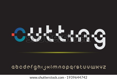 calligraphy cutting alphabet small lettering a to z font family Stock fotó ©