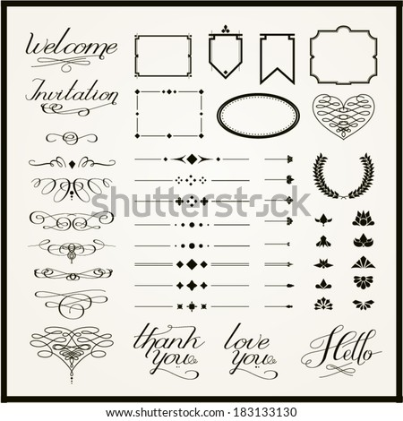 For Retro Design And Embellishments Calligraphy Elements Borders Decorations Lettering Vector Set