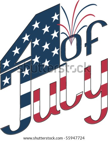 calligraphy for Independence Day- 4 of July with firework and star. Fonts were not used. EPS8