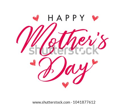 Calligraphy Happy Mother`s Day hearts banner. Mothers Day greeting card template with typography text happy mother`s day and red hearts on background. Vector illustration #1041877612