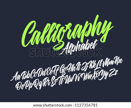 Calligraphy lettering font. Vector alphabet.