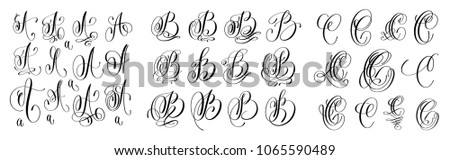 calligraphy letters set A, B and C, script font Isolated on white written with ink, vector illustration