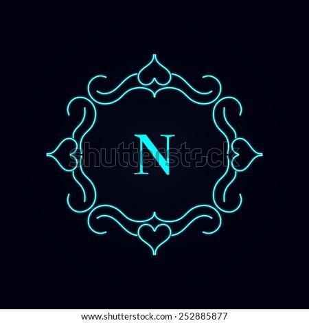 calligraphy monogram floral