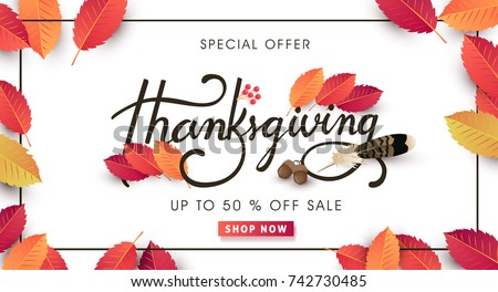 calligraphy of Thanksgiving day sale banner. Seasonal lettering.vector illustration #742730485