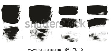 Calligraphy Paint Wide Brush Background Short High Detail Abstract Vector Background Set