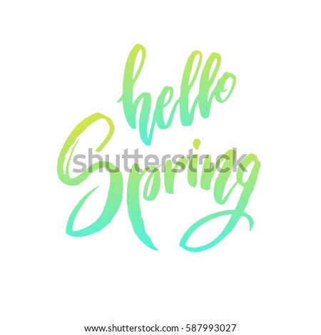 Calligraphy quote hello spring. Handwritten lettering on white background isolated, modern brush pen lettering Vector illustration stock vector.