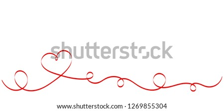 Calligraphy Red Heart Ribbon on White background. Red curved band with two hearts. Valentines day Romantic greeting card with stripes.  Mother's day vector design. Wedding invitation card elements.