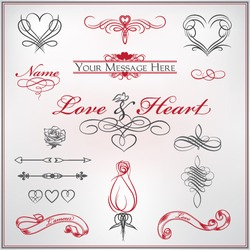 Calligraphy set Love and Heart