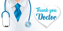 Calligraphy Thank you Doctor, World Health Day. Doctor and stethoscope design with text, concept poster for World Health Day, 7 April. Vector illustration