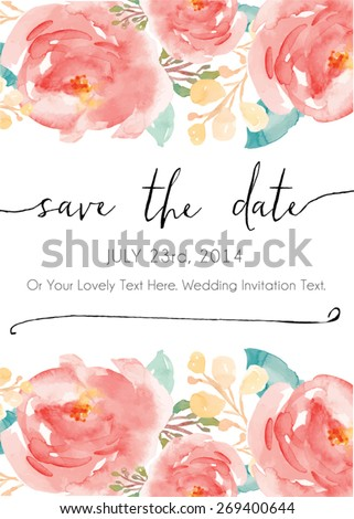 Calligraphy Vector Save The Date. Watercolor Vector Invitation. Watercolor Flowers Invitation Vector. Modern Calligraphy. Save The Date Calligraphy