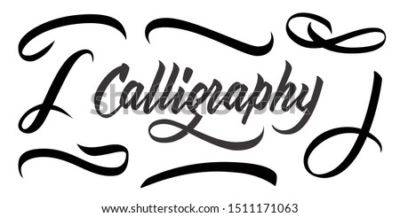 Calligraphy word and calligraphic florishing elements. Lettering elements. Vector inscriptions.