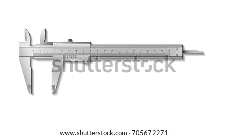Calliper or caliper. Precision measuring tools from silver steel. Isolated on a white background. Realistic VECTOR ストックフォト ©
